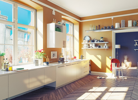 the modern kitchen interior. 3d render concept Banco de Imagens