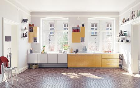 La cucina moderna interni. Concetto di rendering 3D Archivio Fotografico - 48938002