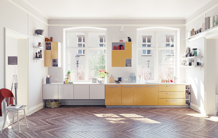 the modern kitchen interior. 3d render concept Stok Fotoğraf