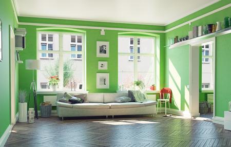 モダンなリビング ルームの interior.3d デザイン コンセプト