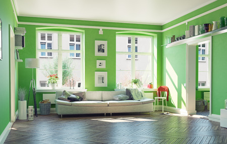 green couch: the modern living room interior.3d design concept