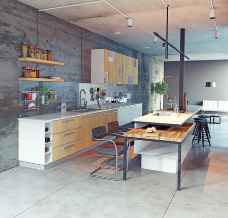 contemporary kitchen interior design. 3d concept Stok Fotoğraf