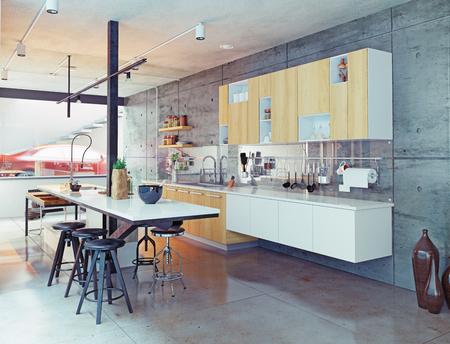 Moderne Küche Innenarchitektur. 3d konzept Standard-Bild - 50460207