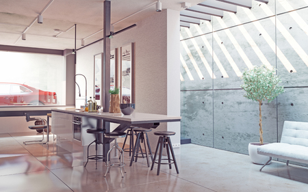 Moderne Küche Interieur. 3D-Konzept Standard-Bild - 50460339