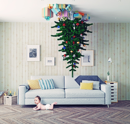 room with a Christmas tree on the ceiling and surprised baby. photo-combinated concept