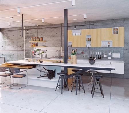 現代的なキッチンのデザインをインターします。3 d コンセプト