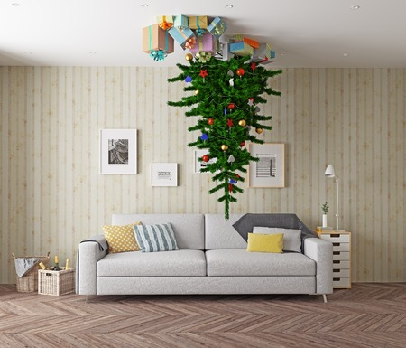 ceiling: room with a Christmas tree on the ceiling. 3d concept