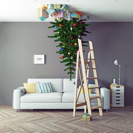 oddball: room with a Christmas tree on the ceiling. 3d concept