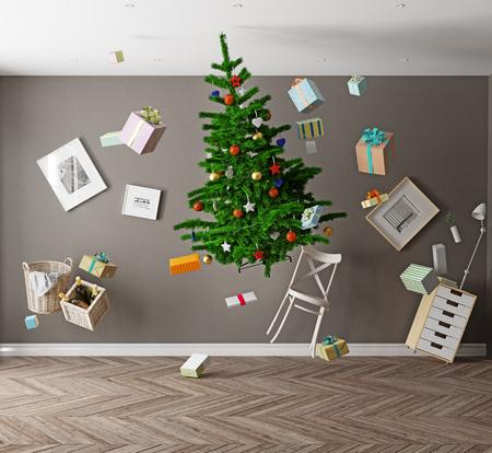 gravedad: habitación con un árbol de Navidad y la gravedad cero. Concepto 3d Foto de archivo