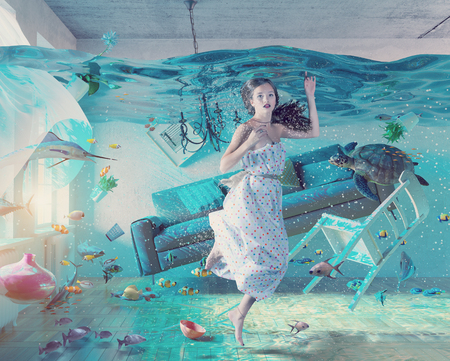 FLOODING: an underwater view in the flooding interior and young woman . 3d concept
