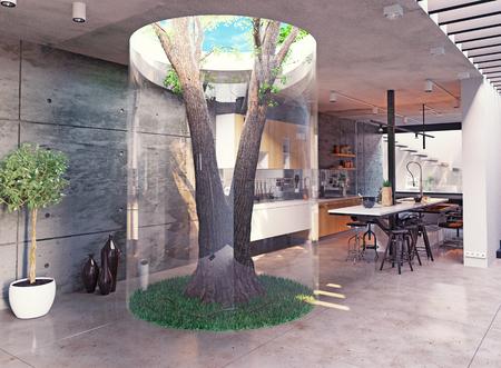 eco diseño del interior moderno. árbol de verdad interior. concepto 3d