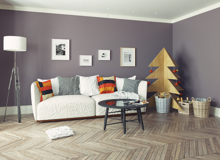 living room  interior with plywood Christmas tree. 3d concept