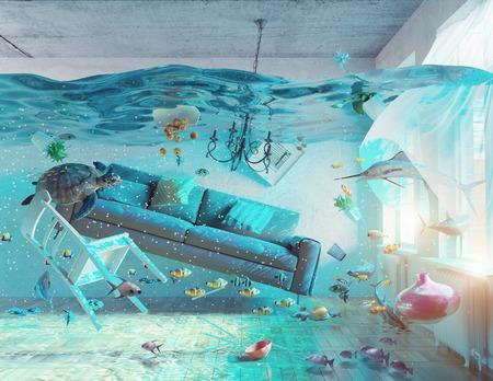 podwodne widok na wnętrze powodzi. 3d koncepcji