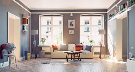 de moderne woonkamer interior.3d ontwerpconcept Stockfoto
