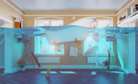 ein Unterwasser-Ansicht in der Überflutung Innenraum. 3D-Konzept Standard-Bild