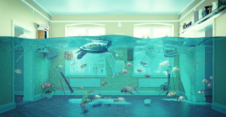 an underwater view in the flooding interior. 3d concept Banco de Imagens - 51586277