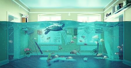 Een onderwater uitzicht in de overstroming interieur. 3D-concept Stockfoto - 51586277