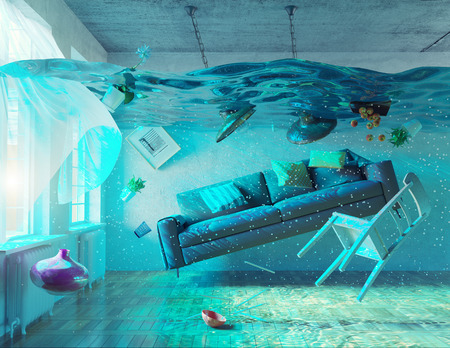 apartment: an underwater view in the flooding interior. 3d concept
