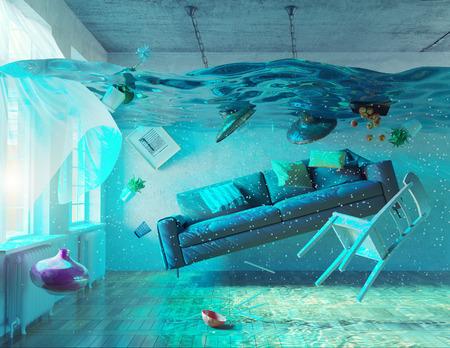 emergencia: una visión bajo el agua en el interior inundaciones. concepto 3d Foto de archivo