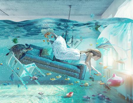 洪水のインテリアと若い女性の水中ビュー。3 d コンセプト