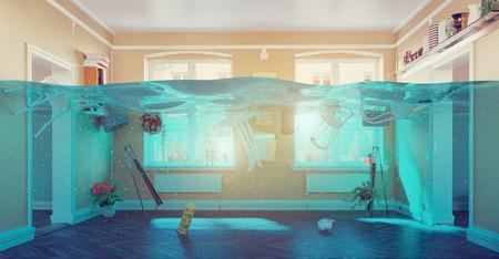 洪水のインテリアの水中ビュー。3 d コンセプト 写真素材