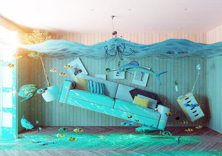 ein Unterwasser-Ansicht in der Überflutung Innenraum. 3D-Konzept
