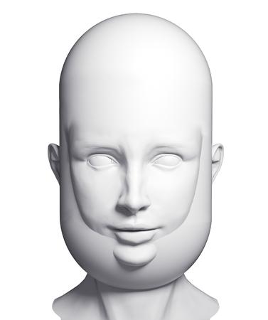 old man portrait: human beard head. 3d concept rendering