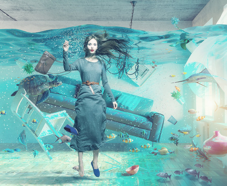 an underwater view in the flooding interior and young woman . 3d concept