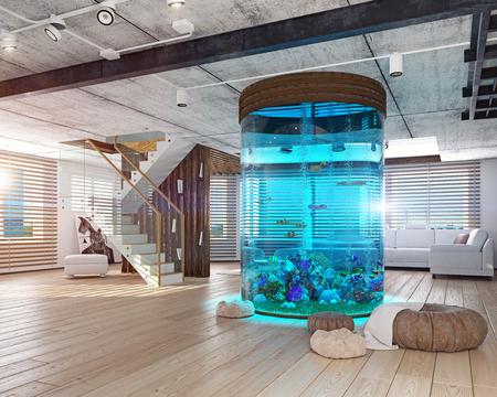 De moderne loft interieur met aquarium. 3D-concept