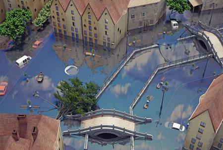 flooding: An flooding town. 3d concept