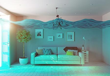 podwodne widok na wnętrze powodzi. 3d koncepcji Zdjęcie Seryjne