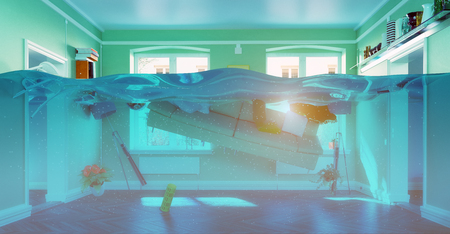 FLOODING: an underwater view in the flooding interior. 3d concept