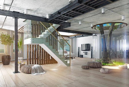 eco design of the modern interior. Real living tree indoor. 3d concept