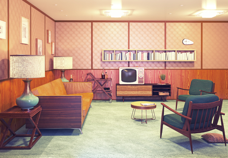 living room furniture: beautiful retro interior at the evening. 3d rendering Stock Photo