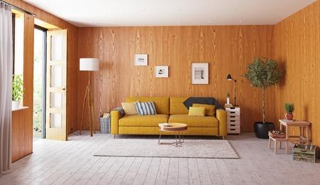 beautiful vintage interior. wooden walls concept