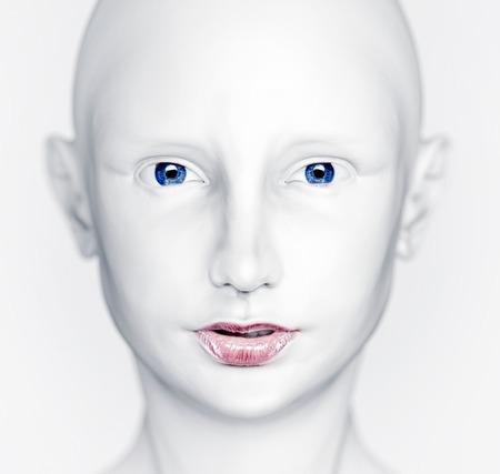ojo humano: 3D hermosa cabeza mujer blanca Foto de archivo