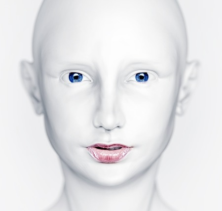 robot girl: 3D white beautiful woman head Stock Photo