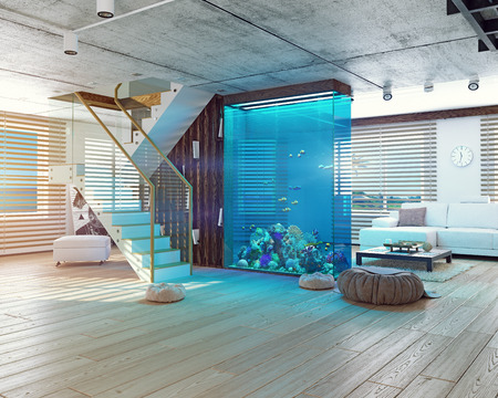 The modern loft interior with aquarium. 3d concept