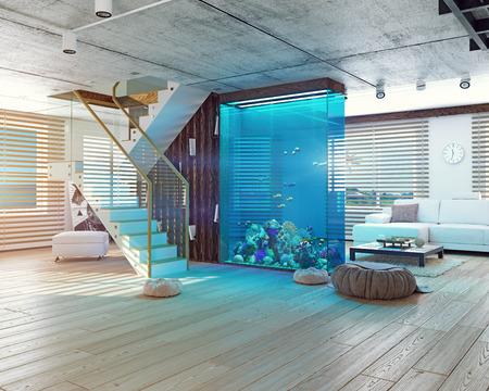 aquarium: Nội thất loft hiện đại với hồ cá. khái niệm 3d