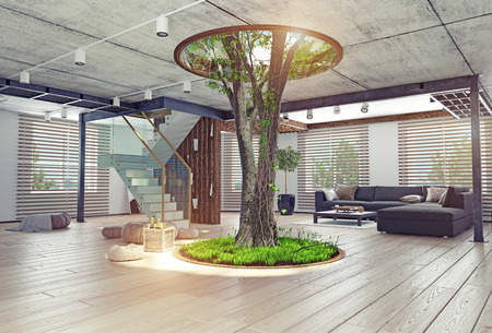 wooden stairs: eco design of the modern interior. Real living tree indoor. 3d concept