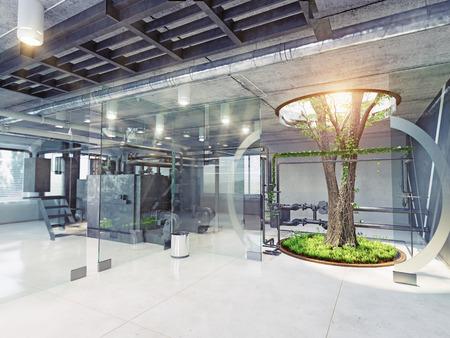 factory interior: eco style factory interior. 3d concept