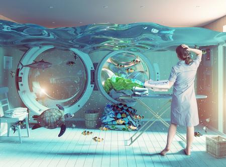 brothel: Housewife dreams. Creative concept. Photo combination