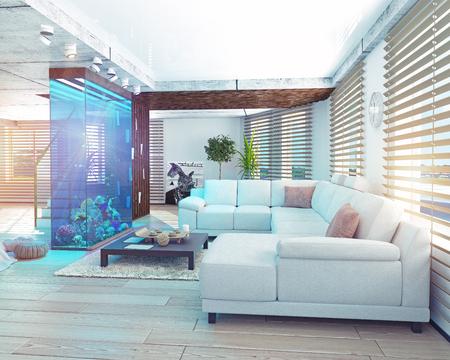 The modern loft interior with aquarium. 3d concept Imagens - 52654574