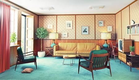 beautiful vintage interior. wooden walls concept. 3d rendering 写真素材