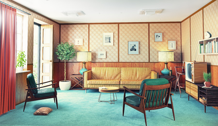 beautiful vintage interior. wooden walls concept. 3d rendering Banco de Imagens