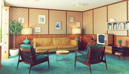 beautiful vintage interior. wooden walls concept. 3d rendering Stok Fotoğraf
