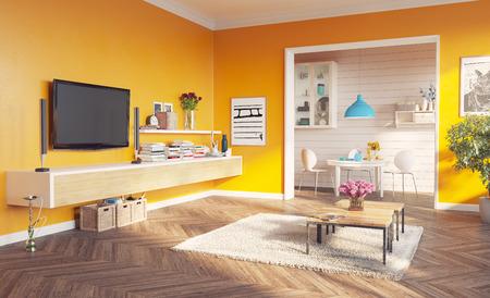 moderne woonkamer interieur. 3D-rendering ontwerpconcept