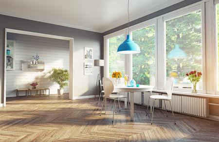 salle à manger moderne. 3d concept