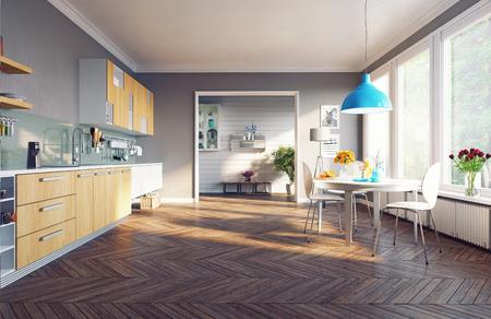 moderne Küche Interieur. 3D-Konzept