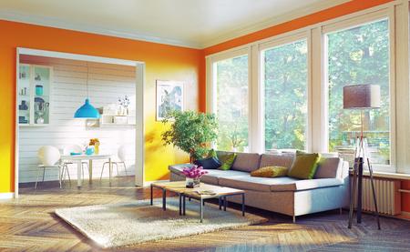Salotto moderno interior design. Concetto di rendering 3D Archivio Fotografico - 55684517